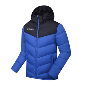 KELME卡尔美运动羽绒服男冬季保暖连帽中长款外套K090S