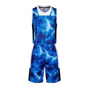 焰火雷电迷彩篮球服套装双侧口袋球衣运动背心VT7303