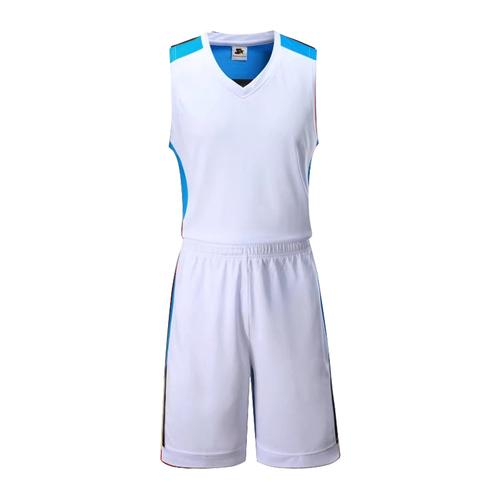 鸡心领拼色篮球服套装个性定制球衣VT53106